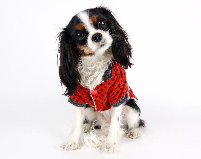 Polka Dot Dog Hooded Sweater Jacket Sherpa Lined Red Black