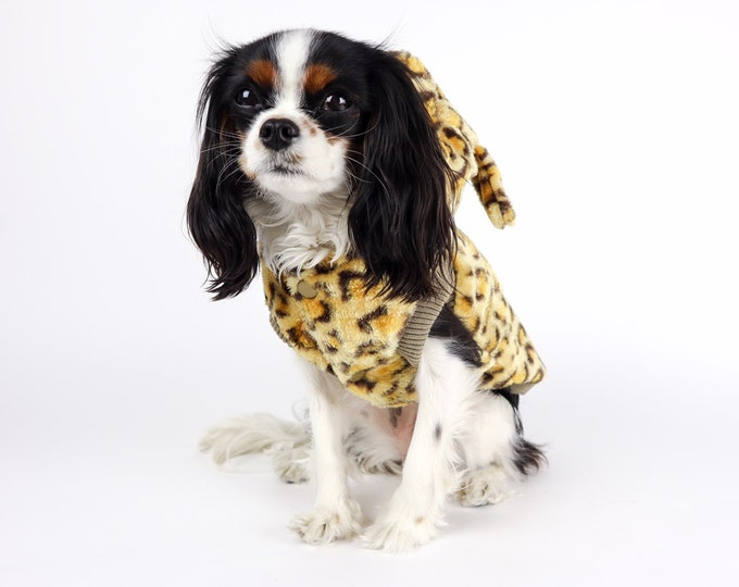 Leopard Fauxfur Dog Jacket Hooded With Ears Fuzzy Soft Sherpa Gold Neutral Small Dog Costume Free Shipping