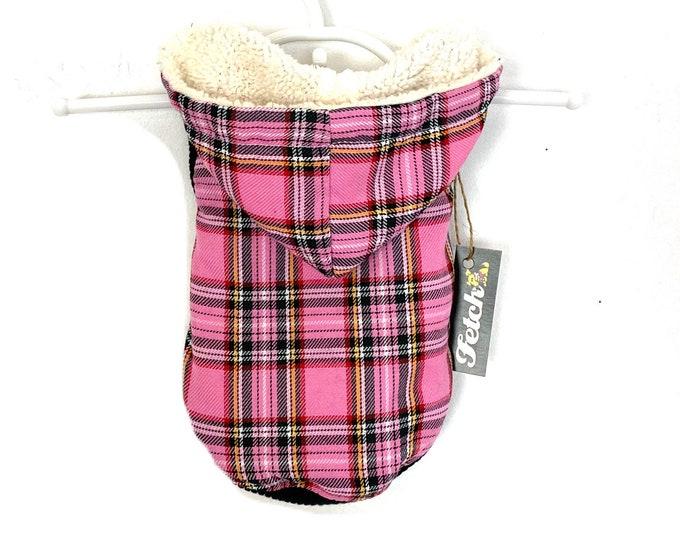 Pink Plaid Dog Jacket Sherpa Lined