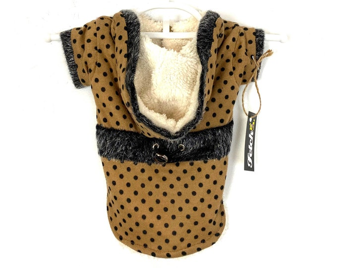Polka Dot Dog Sweater Jacket Hooded Sherpa Lined in Camel
