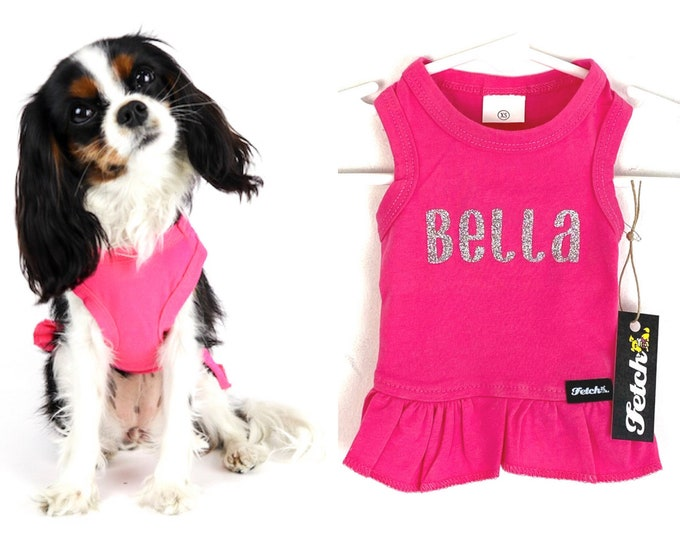 Dog Name Dress Customizable 100% Cotton Soft Tshirt Knit