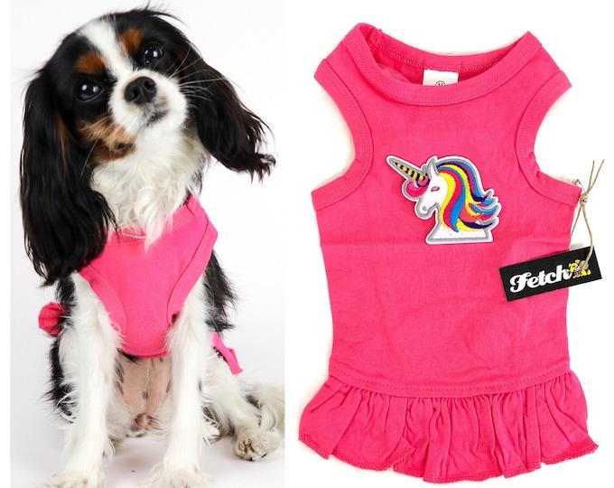 Unicorn Rainbow Dog Dress Handmade in USA Cotton Jersey Knit Fabric Free Shipping