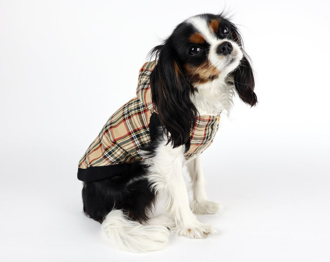 Plaid Dog Jacket Sherpa Lined Camel Color