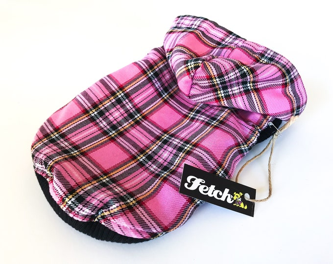 Pink Plaid Dog Jacket REVERSIBLE Sherpa Lined