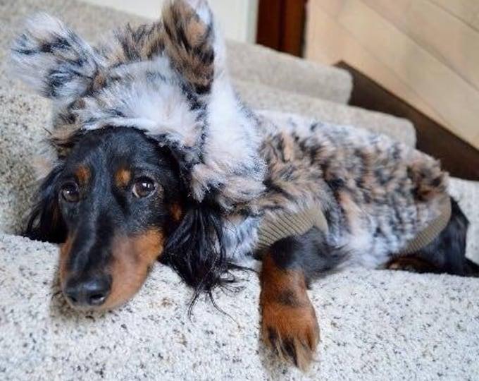 Fauxfur Dog Jacket Snow Tiger With Ears on Hood