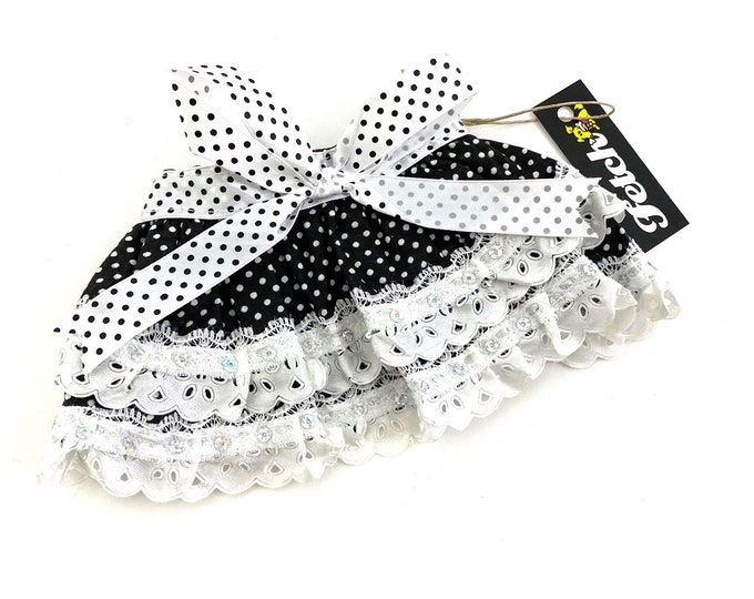 Dog Skirt Black & White Polka Dots with Ribbons