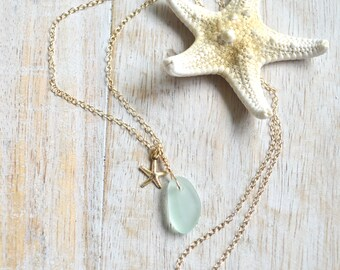 Sea Glass with Starfish Charm Pendant Wire Wrapped Sea Glass Birthday Gift Beach Wear Free Shipping Silver Snake Necklace with Sea Glass