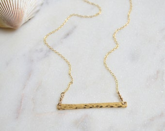 Hammered Bar Necklace in Silver or Gold, Horizontal Bar Necklace