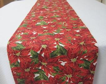 Table runner, Christmas table runner, Poinsettia, Holiday table runner, Holiday decorating, Christmas decor, Elegant table linens,