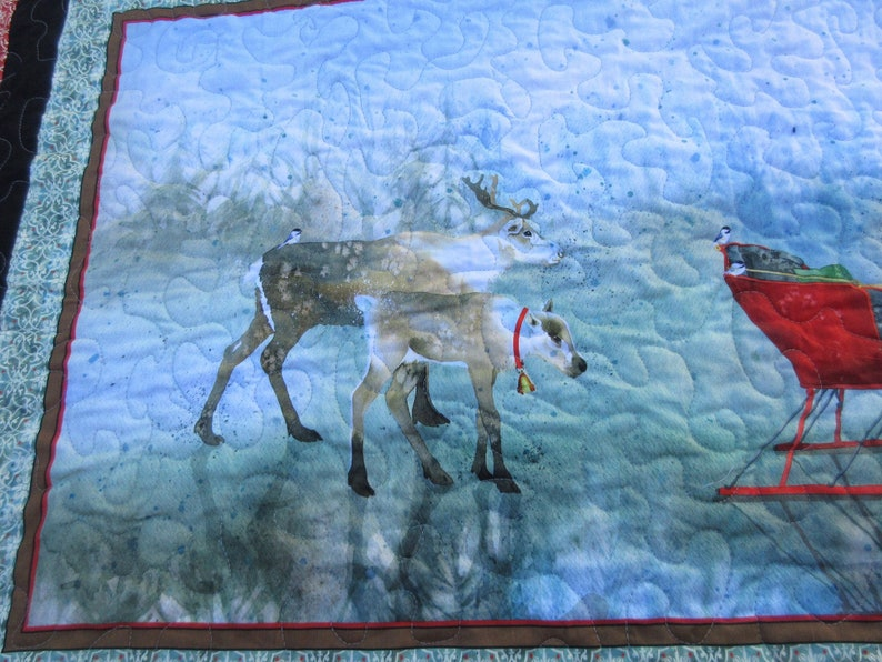 Reindeer Winter Decor Handmade quilt Holiday decor Christmas decor gift Twin sized quilt Lap Quilt Reindeer quilt Christmas quilt