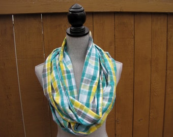 Fabric scarf, Infinity scarf, circle scarf, yellow and aqua scarf, spring scarf, plaid scarf, plaid gift scarf, Mother's day gift