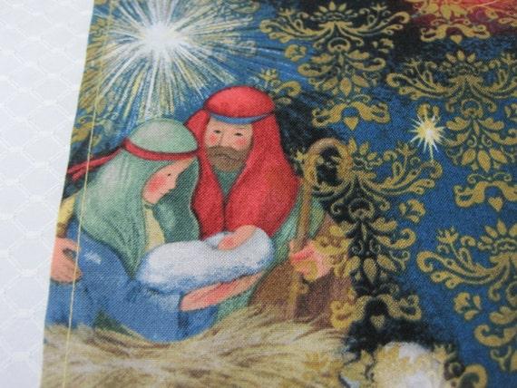 Chemin de table, Tablerunner de coton, linge de Table, Noël, décor de Noël, linge de table de fête, décor de vacances, Nativité, l'enfant Jésus