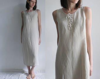 Vintage L/UK12 linen blend dress