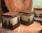 City Skyline Wood Wrapped Candle with Mahogany Scent and Wooden Wick