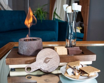 Personalized Ultimate S'mores Kit With Indoors Fire Pit and Board.