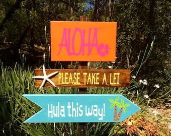 Luau Decoration, Luau Directional Signs, Party Signs, Luau Yard Stake