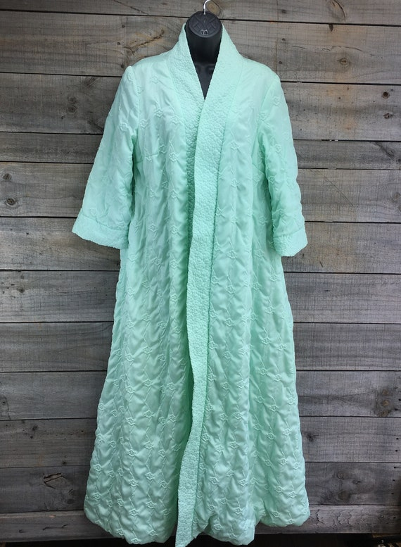 Quilted Satin Robe Housecoat EST XL Vintage 1950'… - image 2