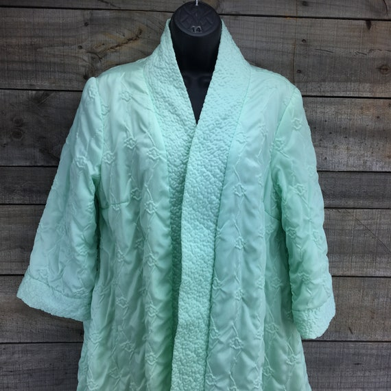 Quilted Satin Robe Housecoat EST XL Vintage 1950'… - image 3