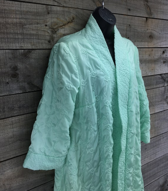 Quilted Satin Robe Housecoat EST XL Vintage 1950'… - image 6