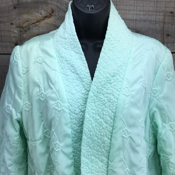 Quilted Satin Robe Housecoat EST XL Vintage 1950'… - image 4