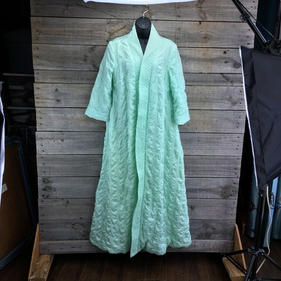 Quilted Satin Robe Housecoat EST XL Vintage 1950'… - image 1
