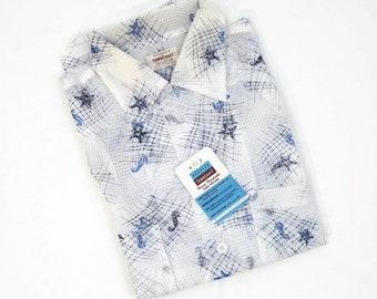 202826c0b Vintage 50s Shirt Mens Towncraft Loop Collar Sheer Nylon Sealife Fishing  Nautical NOS M