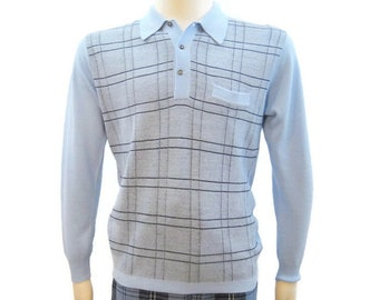 a328137f2807 Vintage 60s Sweater MOD Blue Checked Polo Neck Pullover M - L