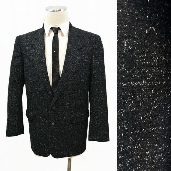 Vintage 80s Jacket Men's Metallic Flecked Black Bo