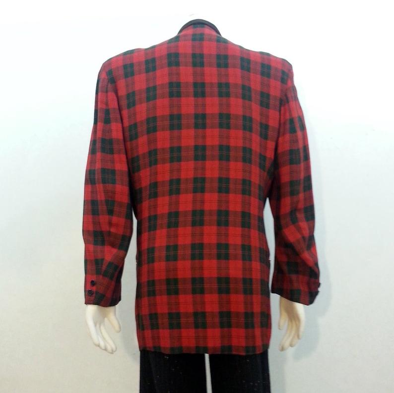 c74e37f29af Vintage 50s Dinner Jacket Red Plaid Tuxedo Tux Blazer | Etsy