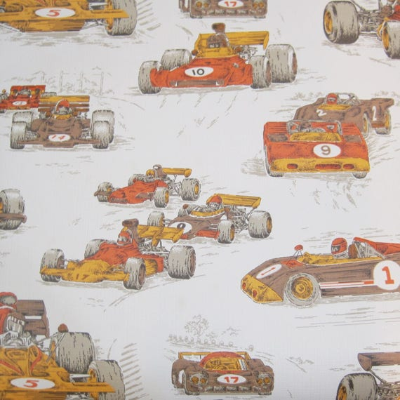 Vintage Wallpaper Roll 70s Mcm Race Car Auto Racing Wallcovering Yellow Orange Brown