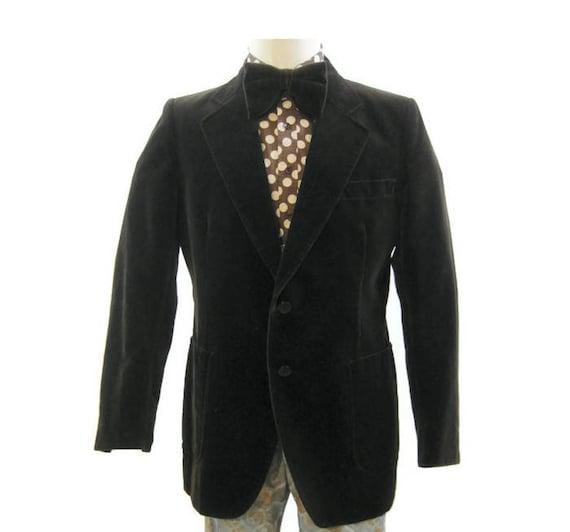 Vintage 70s Jacket Men's Brown Velvet Fitted Disco