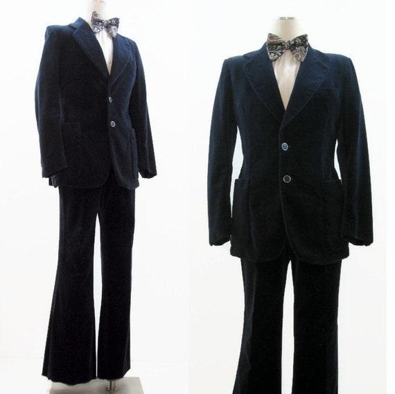 Vintage 1970s Velvet Suit Men's Blue 2 Piece Pants