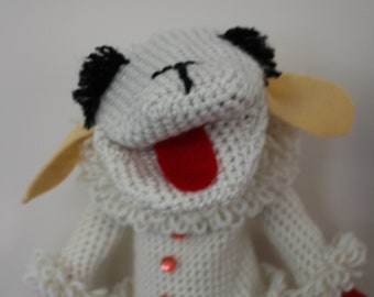 Lamb Chop Puppet, New, Lamb Hand Puppet, Birthday Gift, Crocheted Toy, Nostalgia Gift, Shari Lewis Lambchop Puppet, Also in Pink