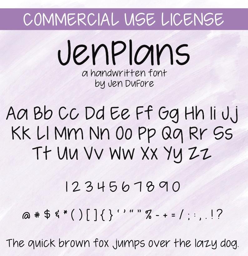 JenPlans Font Commercial Use License including Instant image 0