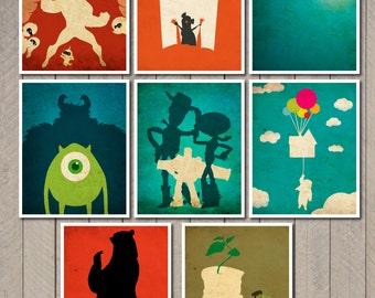 8X10 Disney Pixar movie poster set