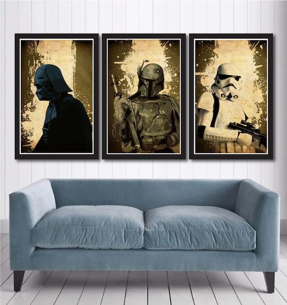 Boba Fett Stormtrooper Star Wars Minimalist Movie Poster Set  Darth Vader