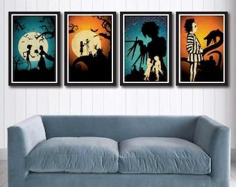 Burton movie poster set -Nightmare Before Christmas, Edward Scissorhands, Beetlejuice, Corpse Bride