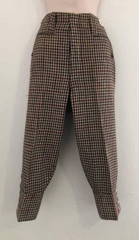 1930s 1940s vintage plaid  wool knickers cropped p