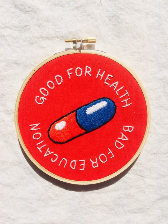 Akira Pill Embroidery Good For Health Bad For Education Etsy