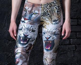 Wild Cats Leggings, Gift for Her,, Tiger Leggings, Animal Leggings, Printed Leggings, Womens Leggings, Party Leggings, Fashion Leggings