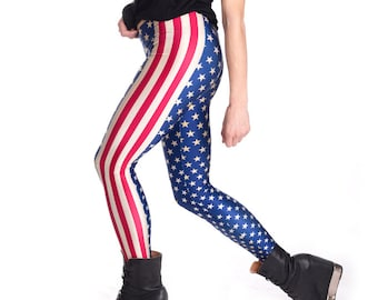 509ceaaec7f71 American Flag Leggings, 4th July Clothing, Red White Blue Leggings,  Patriotic Costume, American Flag Costume, American Flag Pants,