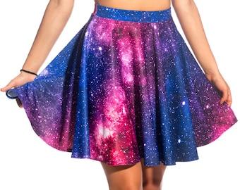 Galaxy Skirt, Skater Skirt, Circle Skirt, Festival Skirt, Mini Skirt, High Waisted Skirt, Short Skirt, Printed Skirt, Galaxy Clothing