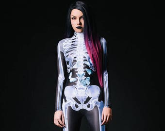 Sexy Skeleton Bodysuit, Sexy Costumes For Women, Sexy Halloween Costume,  Womens Skeleton Costume, Halloween Costumes Women, Skeleton Catsuit