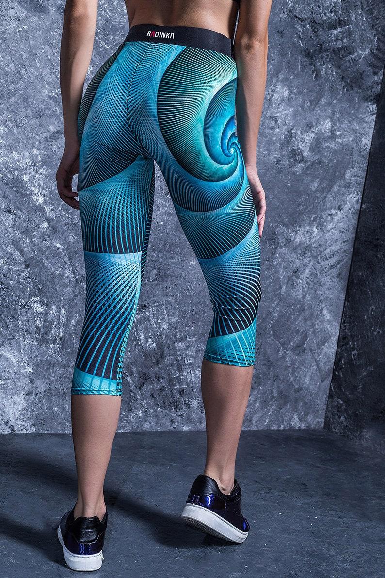 660d26c601be5d Blue Spiral Capri Leggings High Waisted Capri Pants Capris   Etsy