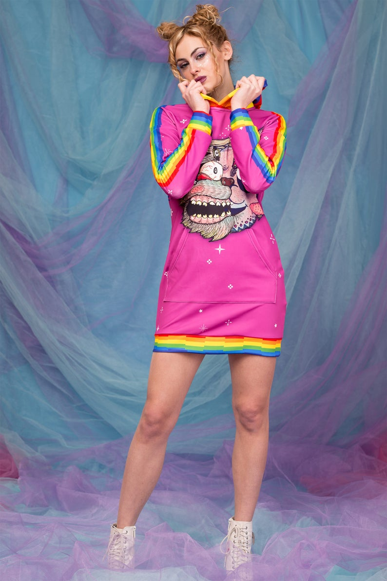 Rainbow Shirt Pink Hooded Dress Cosplay Costume Pink Cat Costume Adults Pastel Goth Clothing Kawaii Sweatshirt Pink Schyzo Cat Hoodie