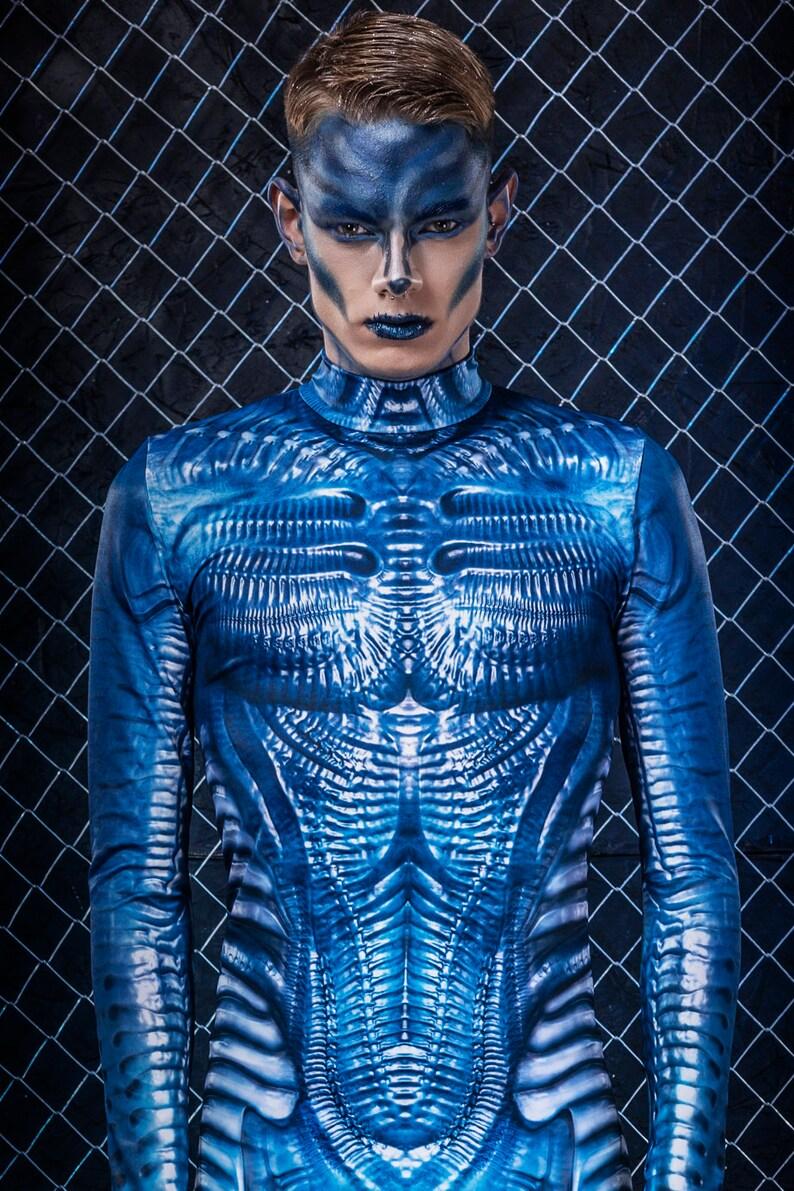 Men/'s Halloween Costume Blue Alien Costume Men Halloween 2019 Adult Costumes for Men Halloween Costume Men Sci-Fi Halloween Costume Men