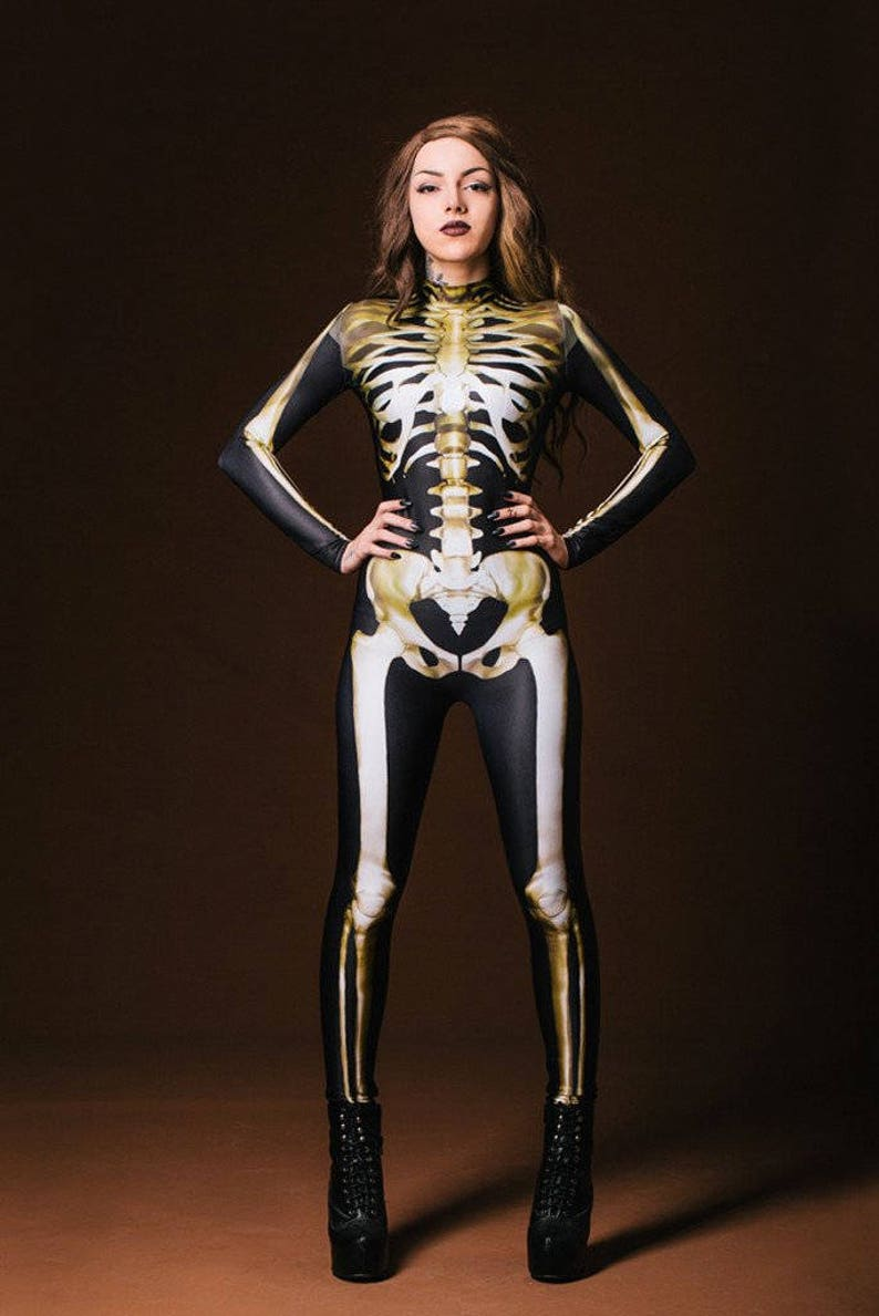 Sexy Skeleton Costume Skeleton Bodysuit Women Gothic | Etsy