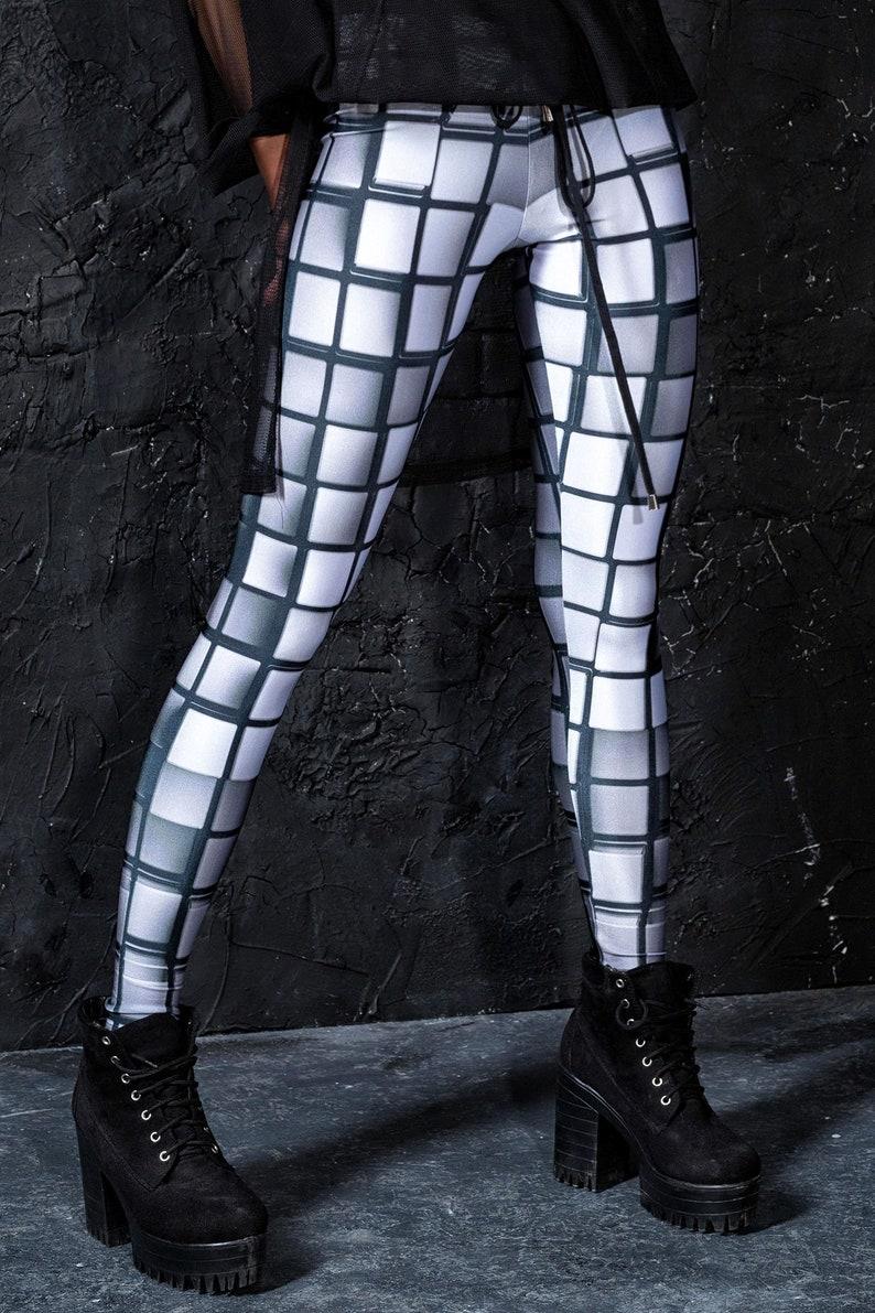 Lycra Leggings Metallic Leggings Spandex Leggings EDM Clothing Fitness Clothing Fitness Leggings Glam Rock Clothes Silver Leggings
