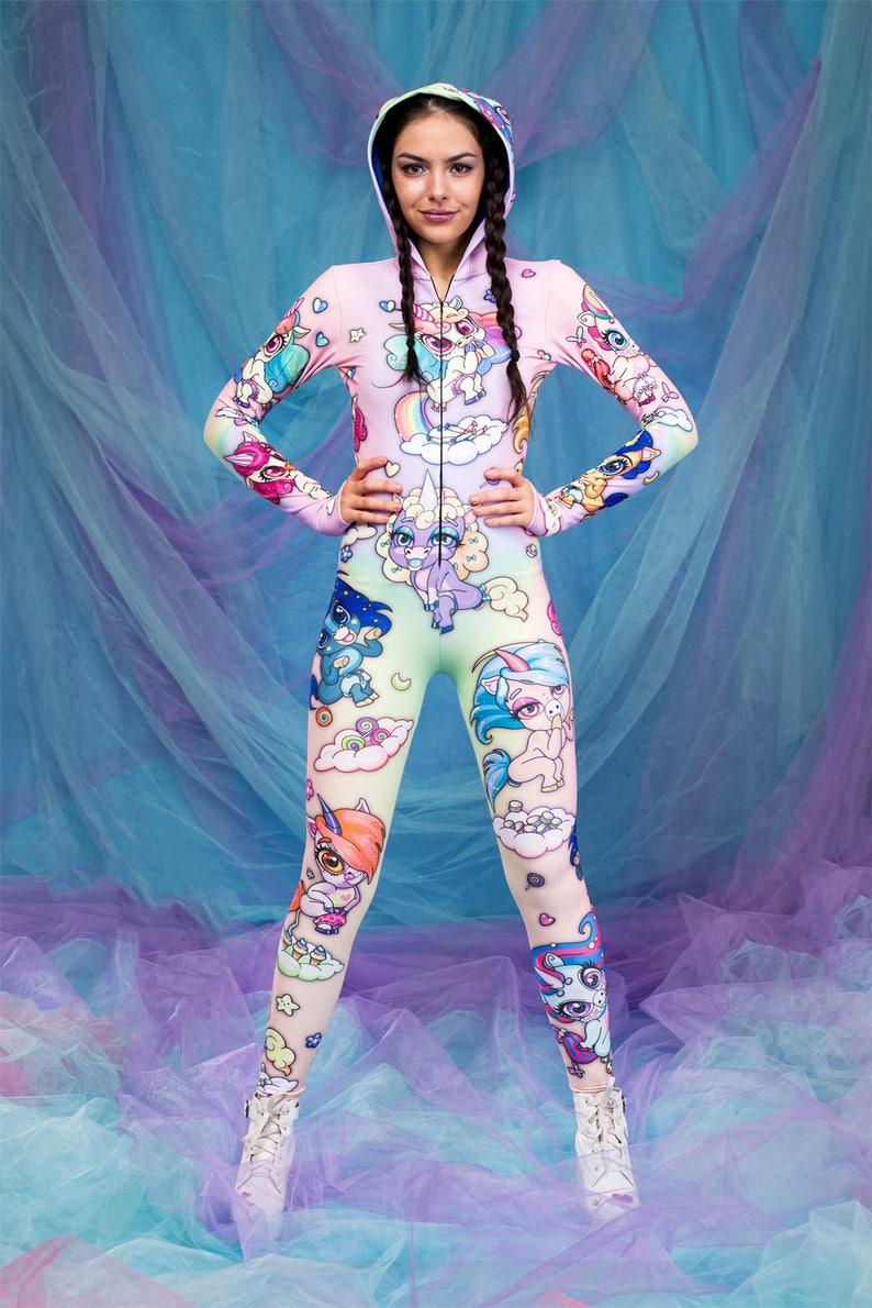 ad9e41da89aa Unicorn One Piece Bodysuit Party Costume Hooded Bodysuit