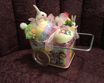 Cart Full of Spring Time Kitschy Arrangement